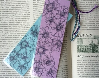 Flower Bookmark (Reproduction Print). 2.5inx7.5in.
