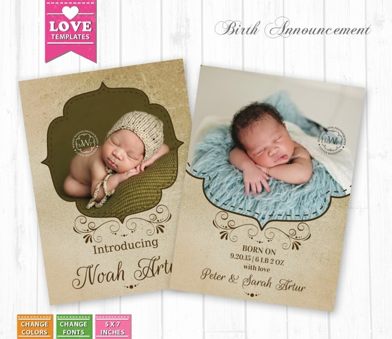 Buy 1 get 1 free birth announcement templates by for Free online birth announcements templates