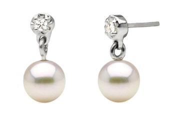 Cultured Japanese Akoya Pearl and Diamond Dangle Earrings, 6.0-6.5mm, Sterling Silver