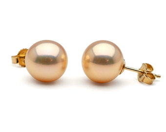 Metallic Pink Freshwater Pearl Stud Earrings, 9.0 to 10.0mm, 14K Yellow Gold Posts and Backs