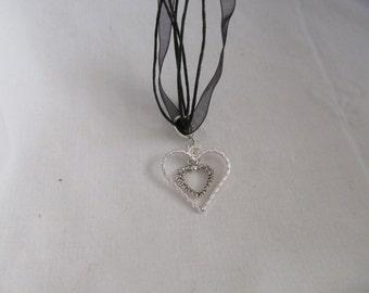 Goth double heart pendant necklace