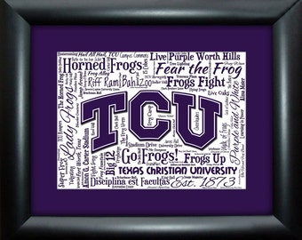 Texas Christian University (TCU) 16x20 Art Piece - Beautifully matted and framed behind glass
