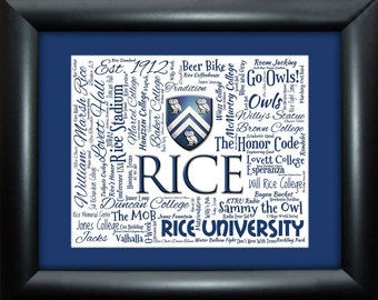 Rice University 16x20 Art Piece - Beautifully matted and framed behind glass