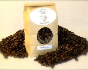"8 oz (half pound bag) Sulawesi Toraja Fair Trade Organic Fresh Roasted Coffee, Whole Beans, Dark Roast, ""Wake Up Call"""