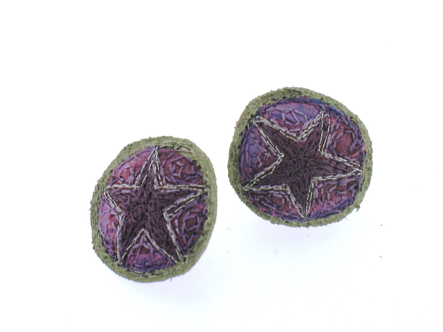 Clare Sowden Embroidered Purple Stud By KatharinesJewellery