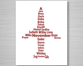 Phonetic Alphabet Airplane Printable Art in Red - Digital Download Wall Art - Aviation Printable - 8x10 Airplane Art