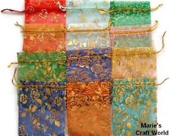"12 ORGANZA GIFT BAGS Floral Assortment 3.5"" X 4.5""  10cm X 12cm  Favor Bags Wedding Bridal Gifts"