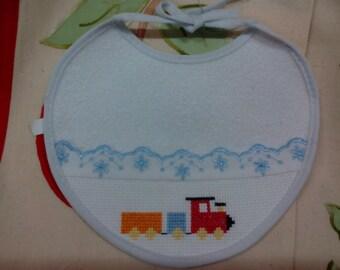 4 Bib cross stitch Embroidery with train