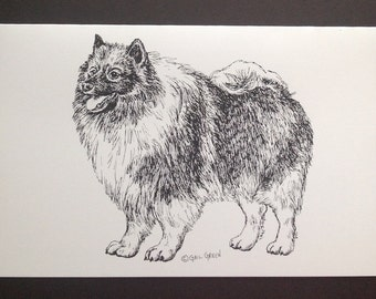Keeshond Art Print (Note Card)