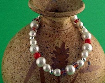 Pearl bracelet and Heart Earring Set.