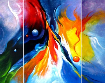 Abstract 100% hand-painted on canvas signed by the artist  will be in one panel not 3 panels  # YTH- (97)