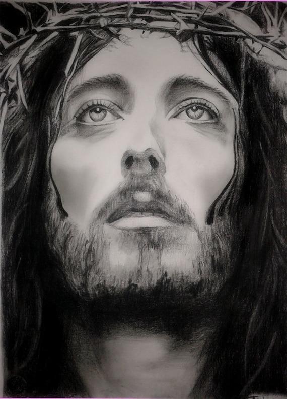 Jesus of Nazareth Drawing custom Jesus Christ charcoal  Jesus of Nazare...