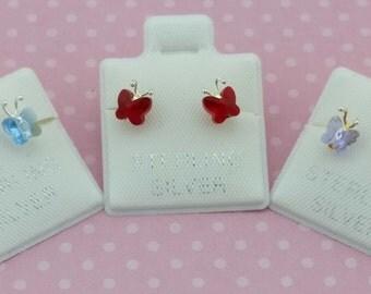 Swarovsky Butterfly Stud Earrings, Swarovsky Stud, Sterling Silver Butterfly Stud Earrings, Silver Swarovsky Earrings, Arete Swarovsky