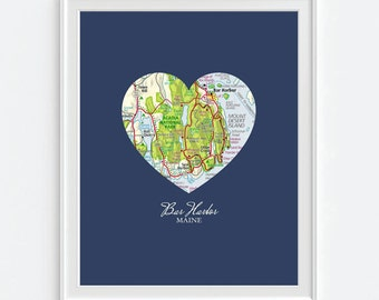 Bar Harbor Maine Heart Vintage Map ART PRINT, Bar Harbor print, Bar Harbor art,Maine art, couple gift, wedding gift, Christmas gift for her