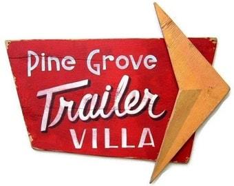 Retro Sign, Trailer Villa, Atomic, Hand Painted