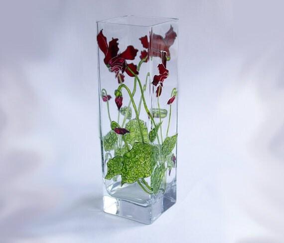 Unique Glass Vases Painted Glass Vase Rectangle Glass Vase Art