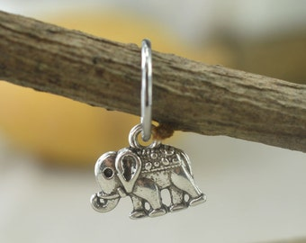 cartilage earring,vintage silver elephant cartilage earring,girlfriend earring,bestfriend gift