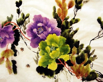 Chinese painting ink painting home decor wall decor watercolor  flower painting peony Big discount