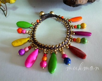SALE!! Handmade Color Stone Chic Cute Bracelet Wristband Cuff Bangle Womens Fashion Jewelry