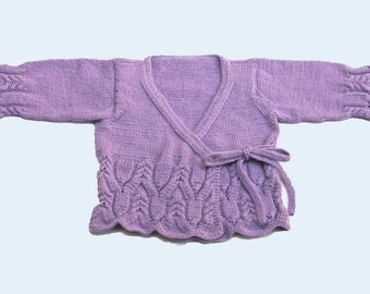 Lavender Lace and Cable Crossover Sweater, Size 2T to 3T