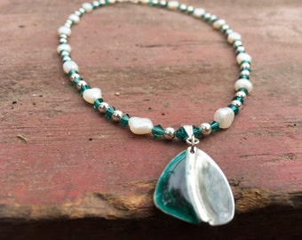 Enamel Green Pendant, Silver Metal Clay Base,  Green Crystal with White Fresh Water Pearls,  Choker Necklace