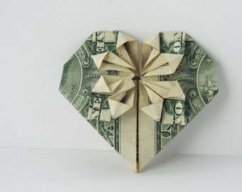 Dollar Bill Origami Heart with Star in the Middle