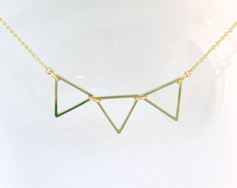 Triple Triangle necklace /Triangle necklace/ simple, chic necklace/ simple triangle necklace/ Mininalist necklace /wedding gift