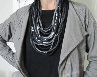 Necklace/scarf, t-shirt yarn necklace, recycled yarn necklace, gray, white and black.