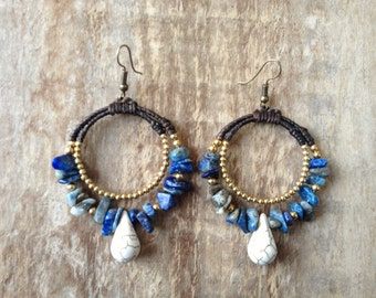 Handmade unique blue stone beaded round earrings with gold and white beads/ oriental earrings