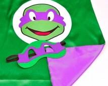 Ninja turtle Donatello cape and mask, Teenage mutant ninja turtle, tmnt Donnie costume, hero kids clothes, Donnie cosplay, ninja turtle mask