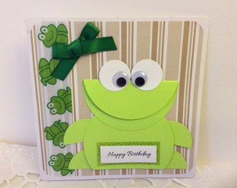 Handmade Birthday Card with Green Frog for Kids