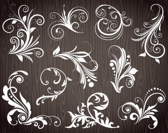 Chalkboard Digital Flourish Swirl Clip Art Digital Flourish Swirls ClipArt Scrapbooking Embellishments Decor Wedding Invitation DIY 0085