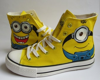 Hand Painted Canvas Shoes Casual High top Shoes Fashion Sneakers  Minions Converse Custom Converse Shoes/sport shoes casual flats 6