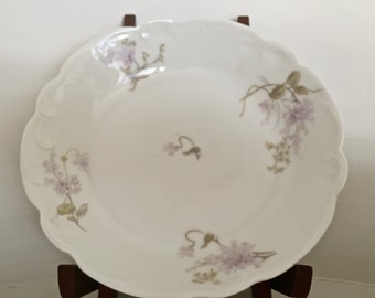 A/L Limoges double marked scalloped bowl, lilac pattern