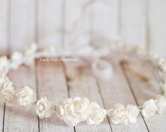 White cream rose flower crown, Flower crown wedding, Wedding floral Crown, Bridal headband, White hair wreath, Rustic wedding accessories