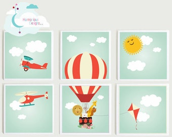 Hot Air Balloon, Plane, Helicopter, Kite, Sun 6 Individual Prints, Nursery Wall Art, Large Wall Hanging, Sky, Animals