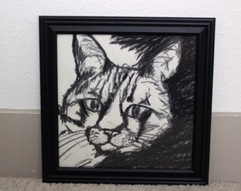 Framed charcoal cat drawing