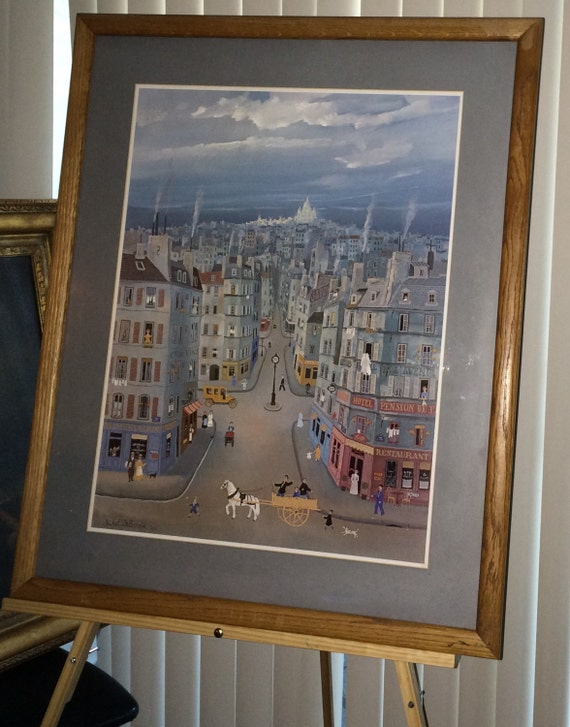 Michel Delacroix Rare Lithograph Art Large Paris Montmartre