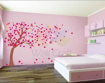 Cherry Blossom Wall Decal Cherry Blossom Wall Sticker Blossom Tree Decal Blossoming Tree For Kids Bedroom or Nursery Small or Large Size