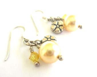 Golden Buttercups - Yellow Sterling Silver Drop Earrings