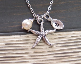initial necklace, silver starfish necklace, Swarovski cream pearl,silver plated chain,nautical jewelry,gifts for bridesmaid,wedding on beach