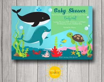 Neutral Baby Shower Invitation Personalised Ocean Theme Sea Animals Print your Own
