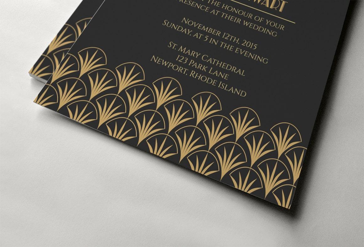 art deco wedding invitation template gold wedding invitation design gatsby wedding invitation instant download - Gatsby Wedding Invitations