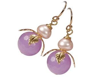 Earring Flower Pink jade Pearl