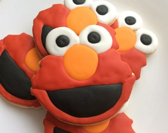 ELMO Inspired Cookie Party Favors Sesame Street birthday party elmo party ideas elmo birthday party decorated cookies royal icing cookie