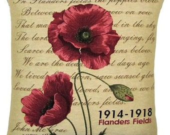 jacquard woven belgian tapestry cushion with Flanders Fields poppies and John Mc Crae poem