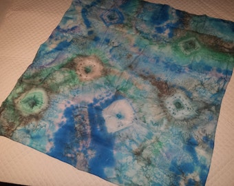 Silk scarf painting and hemmed by hand.