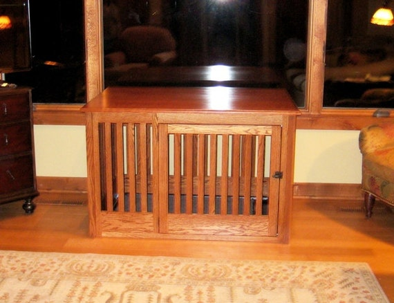 Extra large side entry wood dog crate furniture custom for Xl dog crate furniture