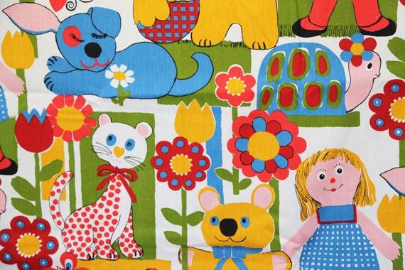 Vintage childrens fabric by modgossip on etsy for Vintage childrens fabric