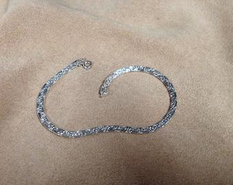 Vintage Silvertone Ankle Bracelet, Length 9.5''